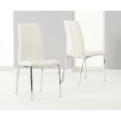 Flynn Off-White Faux Leather Dining Chairs Off-White...