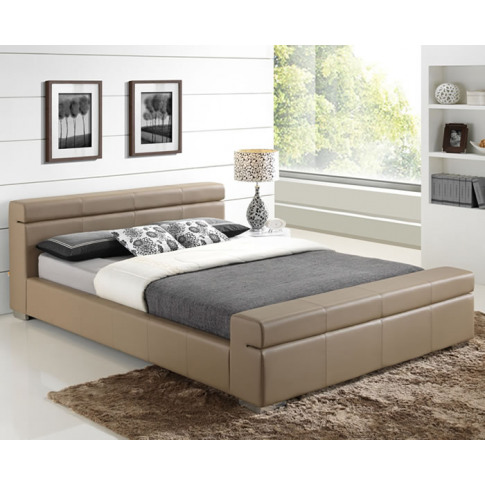 Cameron Stone Faux Leather Bed Frame Double Size - 4...