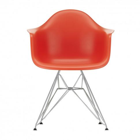 Dar Plastic Armchair Poppy Red & Chrome