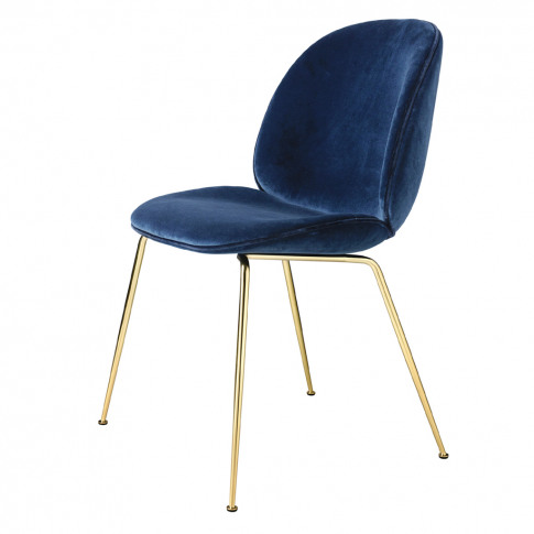 Beetle Dining Chair Navy Velvet With Brass Legs