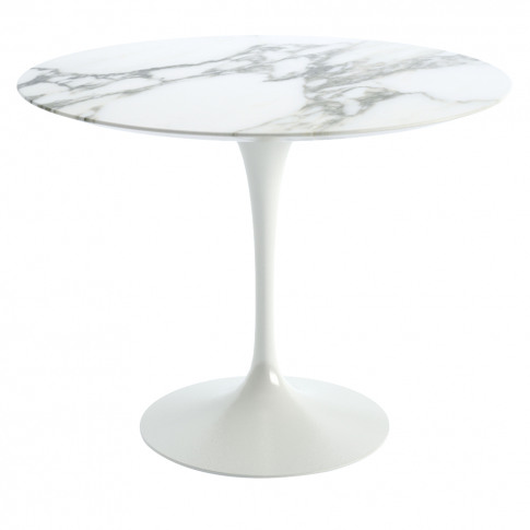Tulip Dining Table Arabescato Marble & White Base 91cm