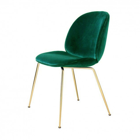 Beetle Dining Chair Green Velvet With Brass Legs