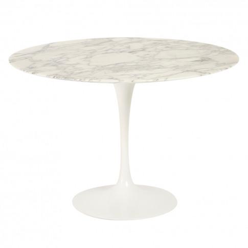 Tulip Dining Table Arabescato Marble & White Base 107cm
