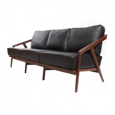 Katakana Sofa Walnut & Black Leather