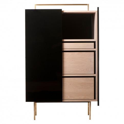 759l Trunk Cabinet Tall Black Lacquer & Oak Interior