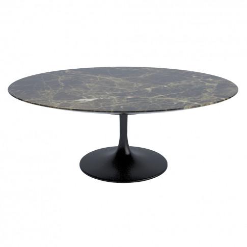 Tulip Oval Coffee Table Emperador Satin Finish Marbl...