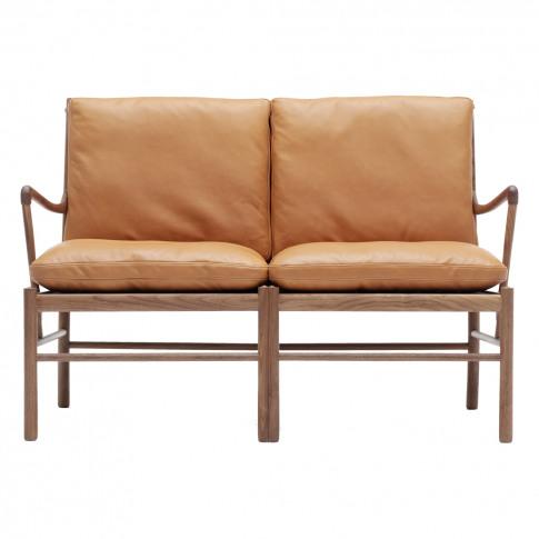 Ow149-2 Colonial Sofa Walnut & Tan Leather