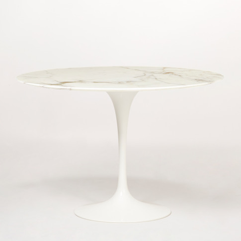 Tulip Dining Table Glossy Calacatta Marble & White B...