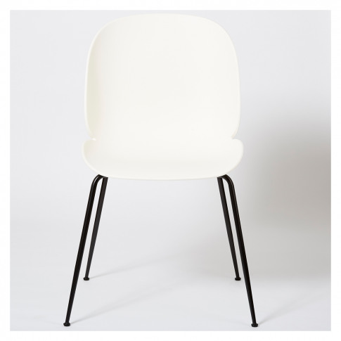 Beetle Dining Chair Un-Upholstered White With Black ...
