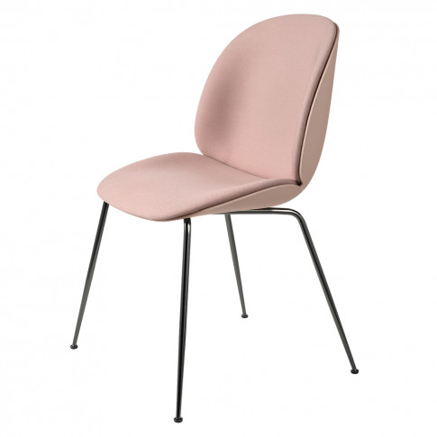 Beetle Dining Chair Front Upholstered Black Chrome Legs