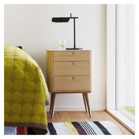 Ak 2410 3-Drawer Bedside Table Corian & Oak