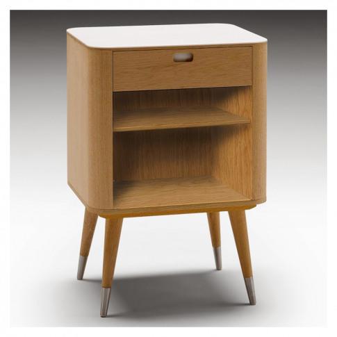 Ak 2405 1-Drawer Bedside Table Corian & Oak