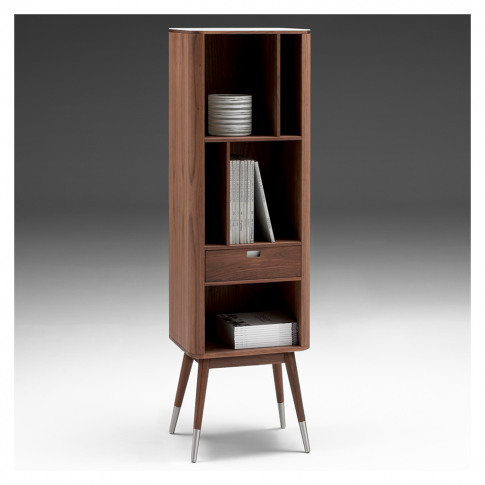 Ak 2772 Tall Shelving Unit With Drawer Corian & Walnut