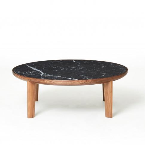 Hole Coffee Table Walnut Black Marquina Marble