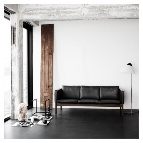 Ch163 Sofa Oiled Walnut & Black Leather