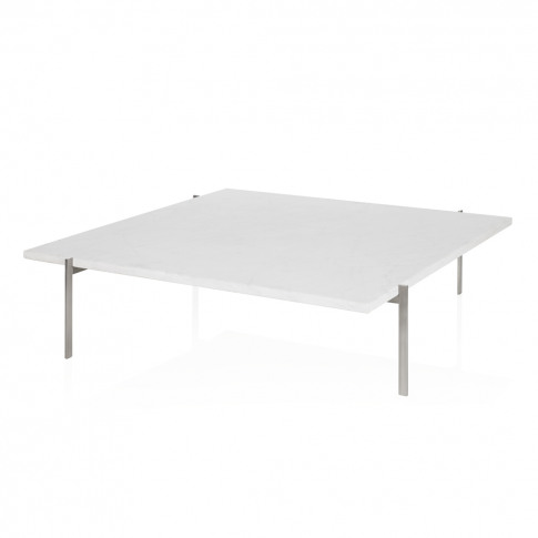 Pk61 Coffee Table Brushed Steel & White Marble