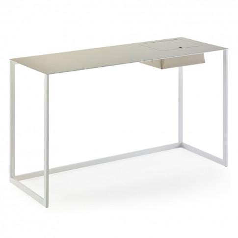 Calamo Desk Chrome & Beige Cuoio Leather