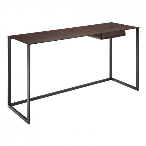 Calamo Desk Graphite & Brown Leather