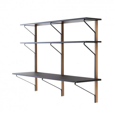 Reb 010 Kaari Wall Shelving Unit & Desk Natural Oak ...