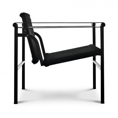 Lc1 Armchair Black Hairyskin & Black Steel