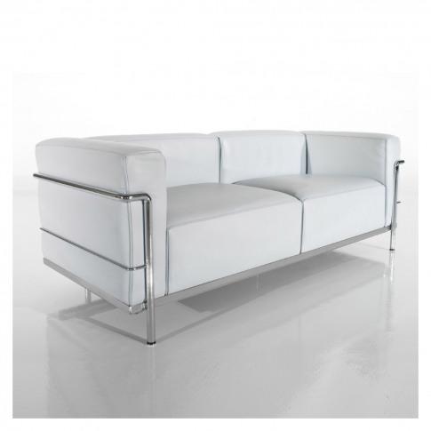 Lc3 3-Seater Sofa White Leather & Chrome