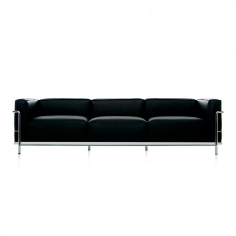 Lc3 3-Seater Sofa Graphite Leather & Chrome