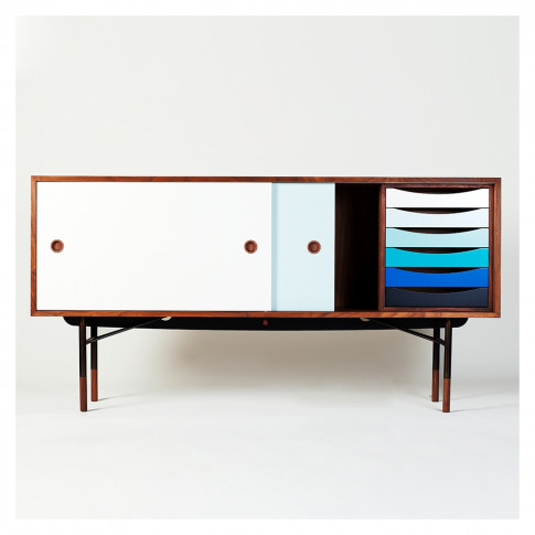 Sideboard With Tray Unit Walnut & Blue