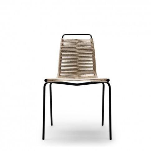 Pk1 Dining Chair Black Frame & Natural Cord