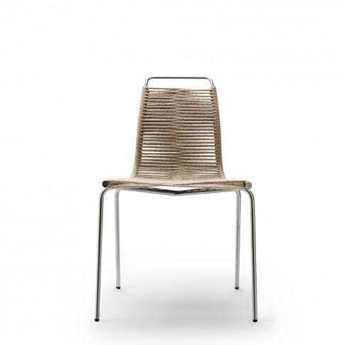 Pk1 Dining Chair Stainless Steel Frame & Natural Cord