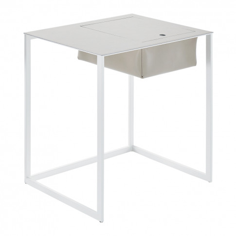 Taschino Bedside Table White & Beige Leather
