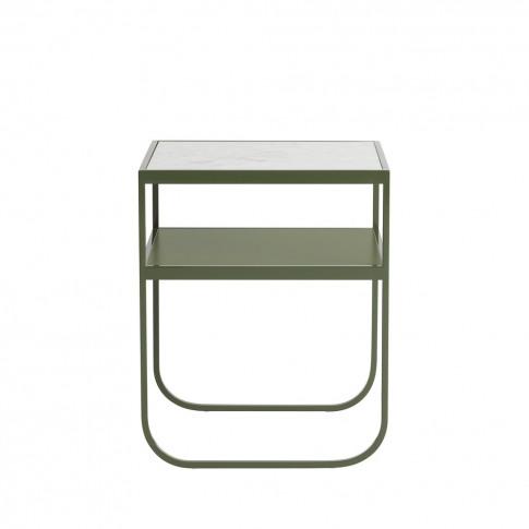 Nati Tati Bedside Table Khaki Green & Carrara Marble