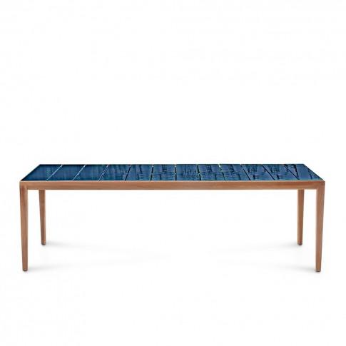 Teka 174 Dining Table In Teak & Sapphire