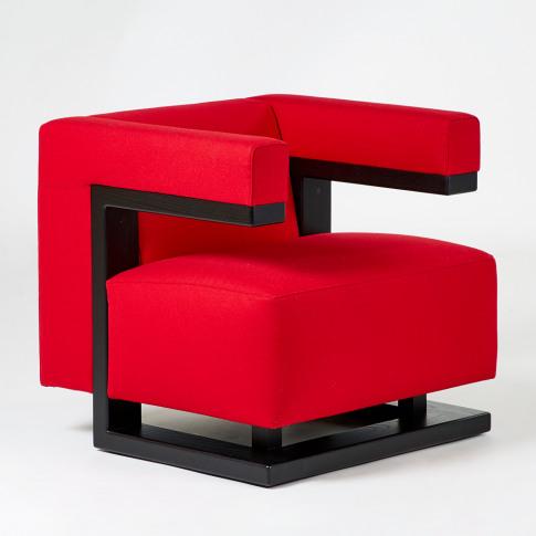 F51 Armchair Black Ash & Red