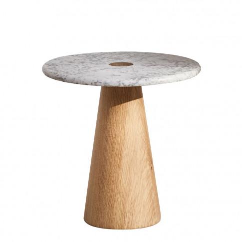 Small Brimstone Side Table In Carrara Marble & Oak