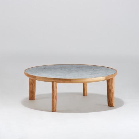 Hole Coffee Table In Carrara Marble & Oak 80cm