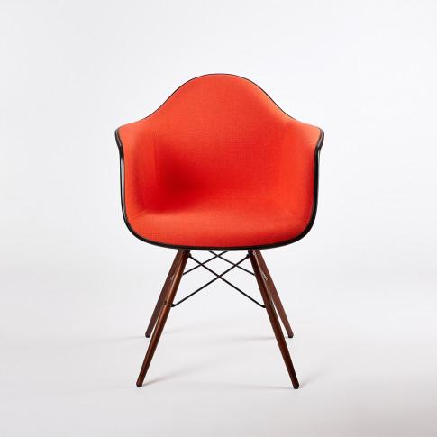 Daw Plastic Armchair Dark Maple & Coral Red Hopsak U...