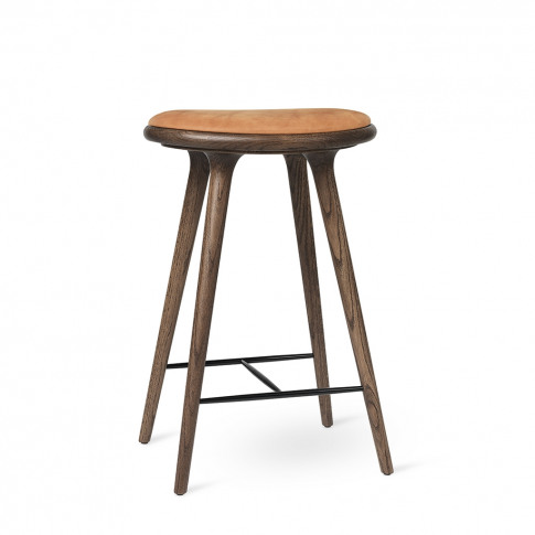 High Stool Dark Stained Oak & Cognac Leather 69cm