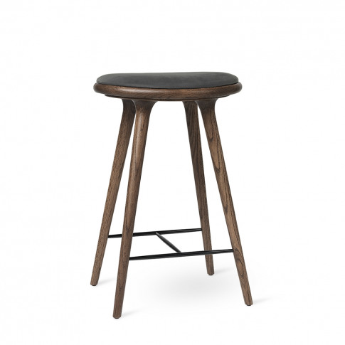 High Stool Dark Stained Oak & Anthracite Leather 69cm