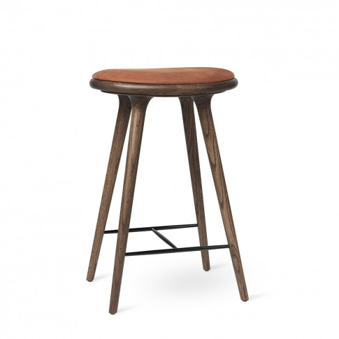 High Stool Dark Stained Oak & Rust Leather 69cm