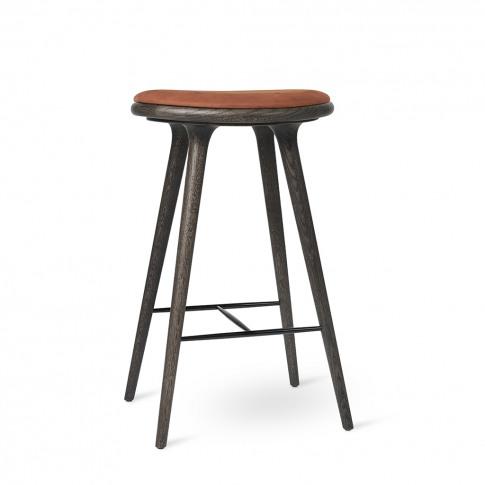 High Stool Sirka Grey Oak & Rust Leather 74cm