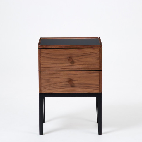Monument 2-Drawer Bedside Table In Walnut & Ash