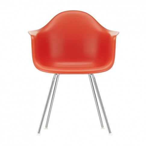 Dax Plastic Armchair Poppy Red & Chrome