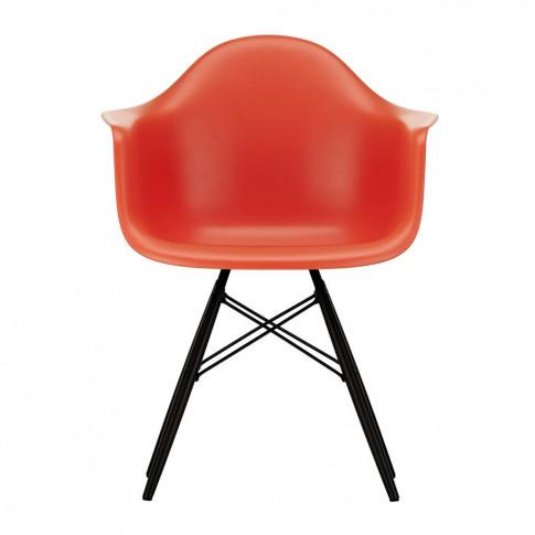 Daw Plastic Armchair Poppy Red & Black Maple