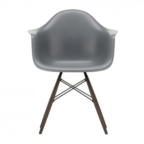 Daw Plastic Granite Grey Armchair & Dark Maple