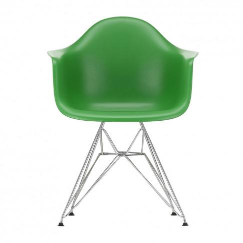 Dar Plastic Armchair Green & Chrome