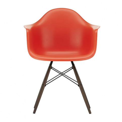 Daw Plastic Armchair Poppy Red & Dark Maple