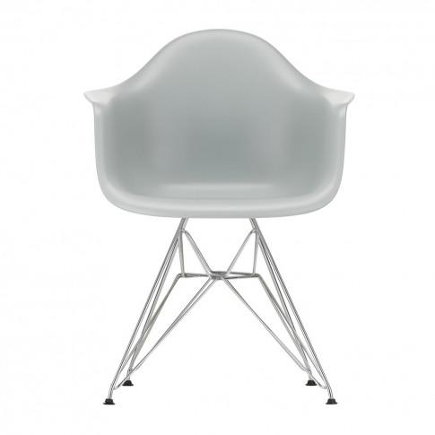 Dar Plastic Armchair Light Grey & Chrome