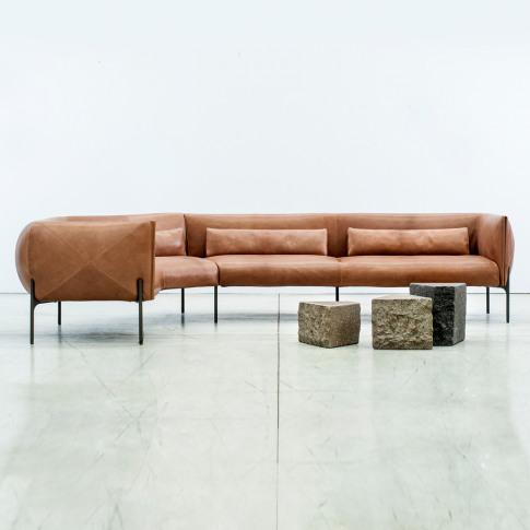 Otto Corner Sofa In Tan Leather
