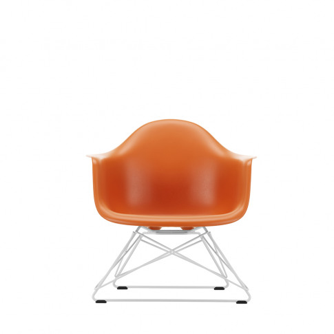 Lar Plastic Armchair In Rusty Orange & White