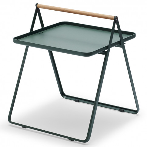 By Your Side Table In Aluminium & Hunter Green